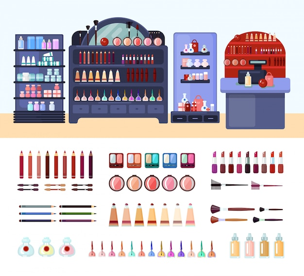 Health and beauty store composition Free Vector