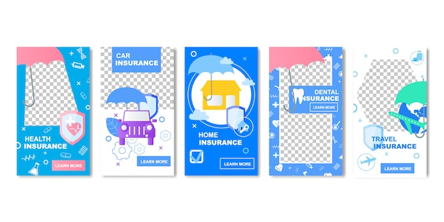Health car home dental travel insurance banner social media template Premium Vector