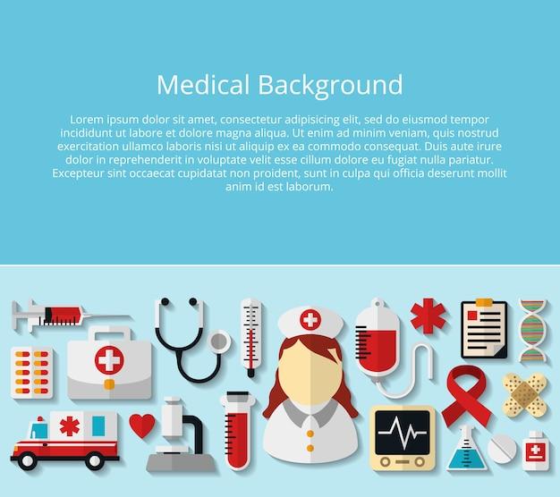 Здравоохранение и медицинский плакат с образцом текста. микроскоп и днк, больница и врач, стетоскоп и трубка, лекарство и термометр Бесплатные векторы