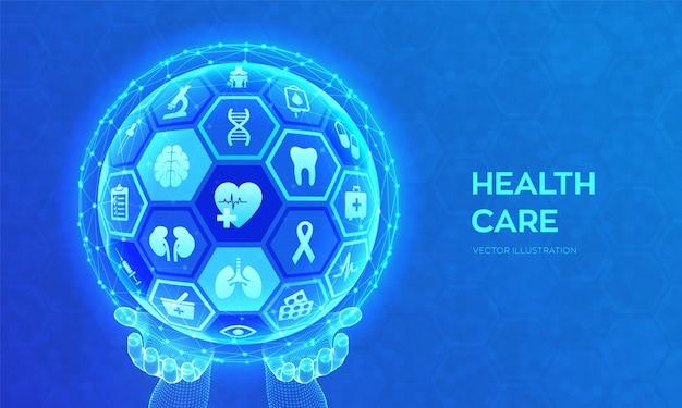 Концепция здравоохранения и медицинских услуг. Premium векторы