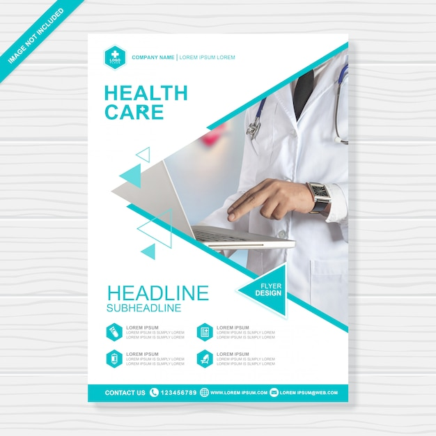 Health care cover a4 flyer design template Premium Vector