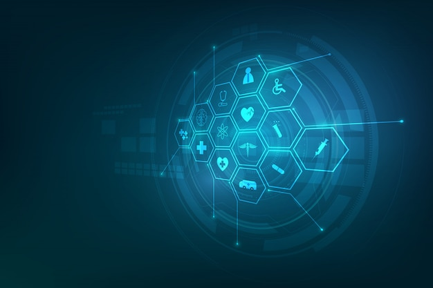 Health care icon pattern medical innovation background Premium Vector