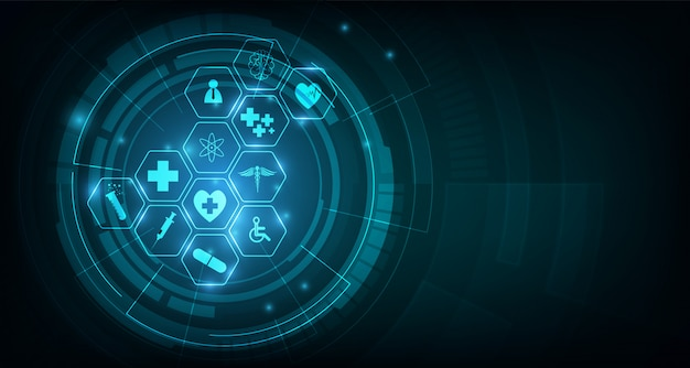 Health care icon pattern medical innovation concept background design Premium Vector