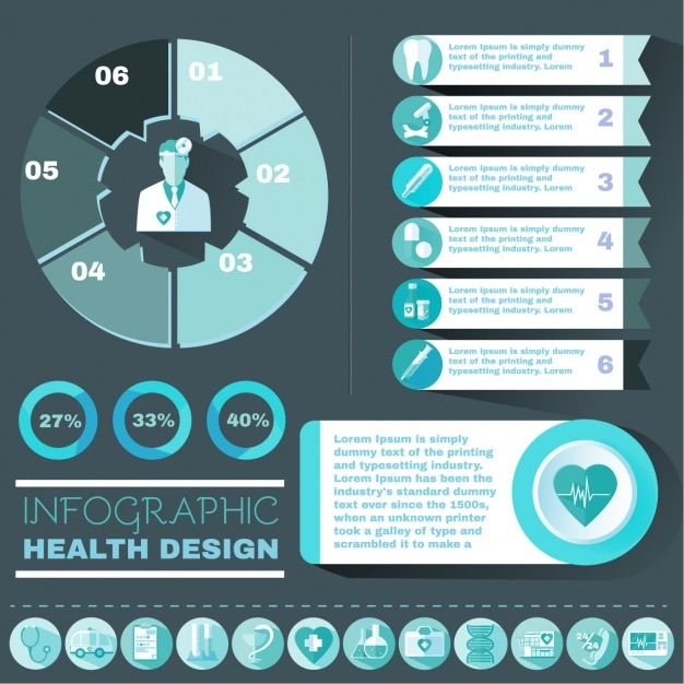 Health care infographic elements Vector | Free Download