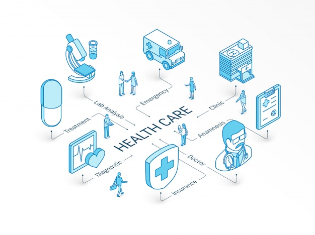 Health care isometric concept.  integrated infographic system. people teamwork. doctor, anamnesis, diagnostic, lab analysis symbol. treatment, insure, emergency clinic pictogram Premium Vector