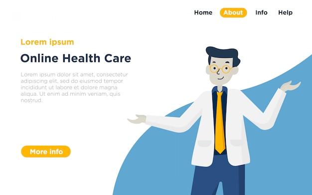 Health care landing page illustration Premium Vector
