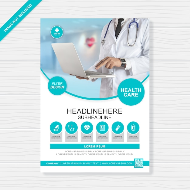 Health care and medical cover a4 flyer design template for printing Premium Vector