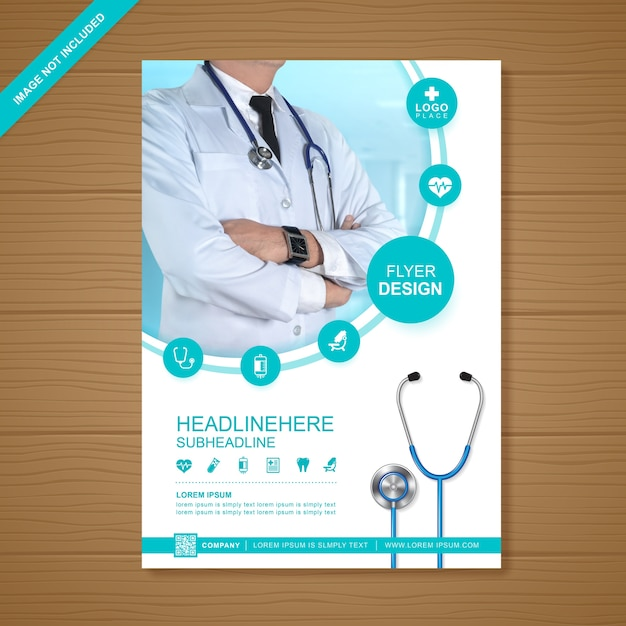 Health care and medical flyer template Premium Vector