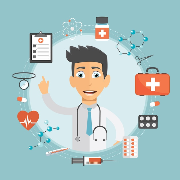 Health care and medicine concept Premium Vector