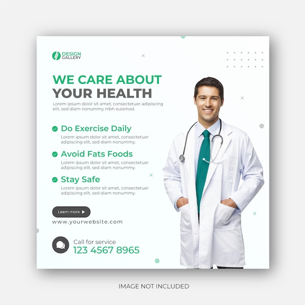 Health care web  instagram post banner design Premium Vector