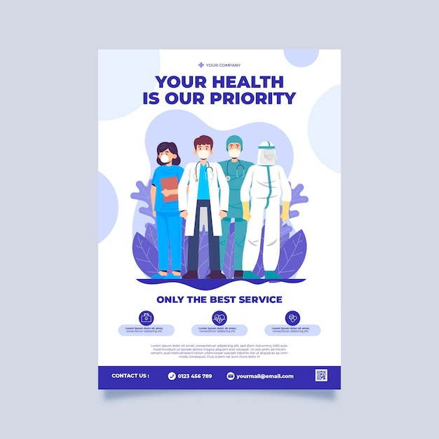 Health clinic poster template Free Vector