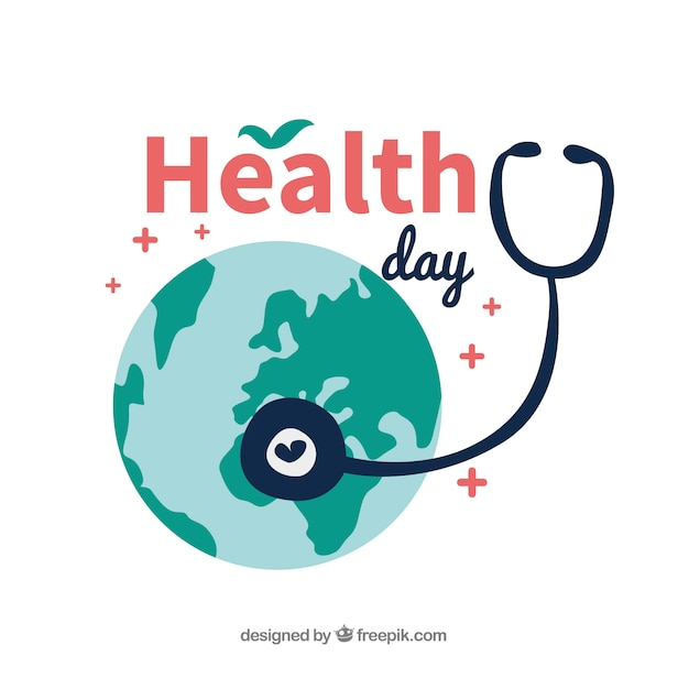 Health day background in flat style Free Vector