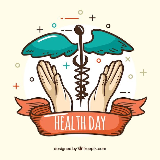 Health day background in hand drawn\ style