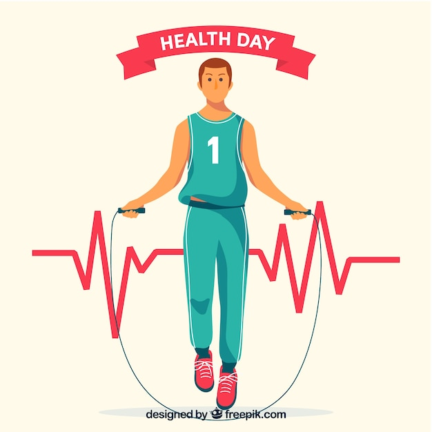 Health day background wirh man exercising in\ hand drawn style