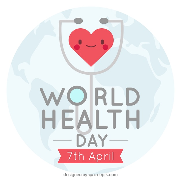 Health day background with happy heart