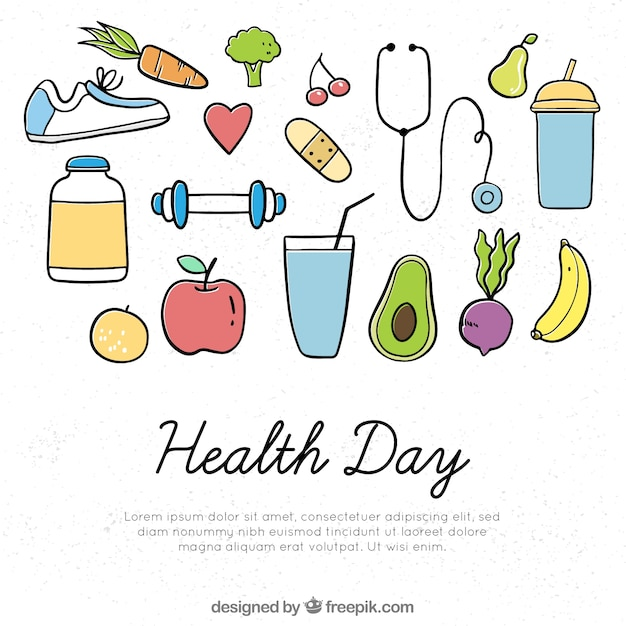 Health day background with healthy food in hand\ drawn style