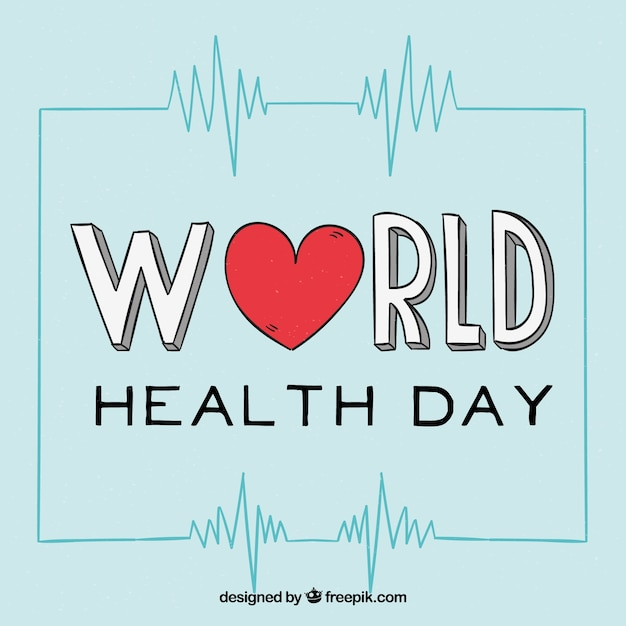 Health day background with heart in hand drawn\ style