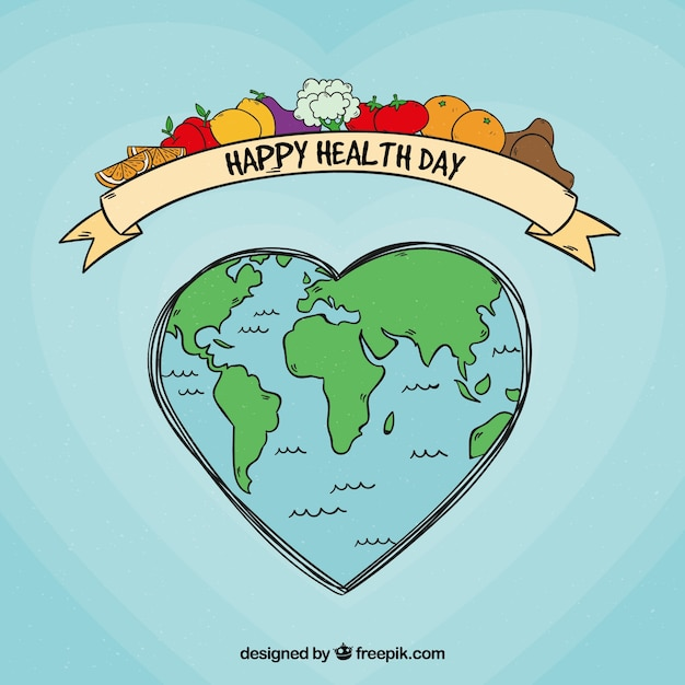 Health day background with world in hand drawn\ style