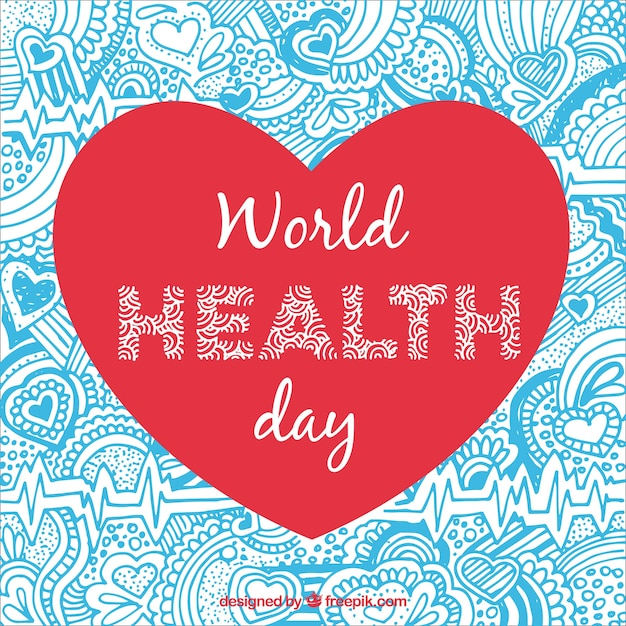 Health day heart ornamental background Free Vector