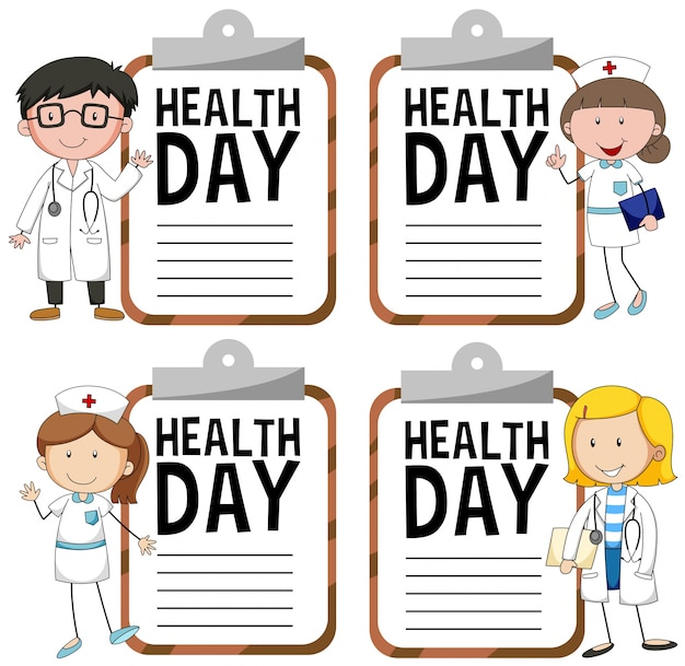 Health day logo with doctor and nurse Free Vector