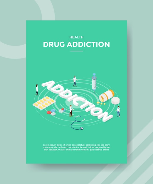 Health drug addiction flyer template Free Vector