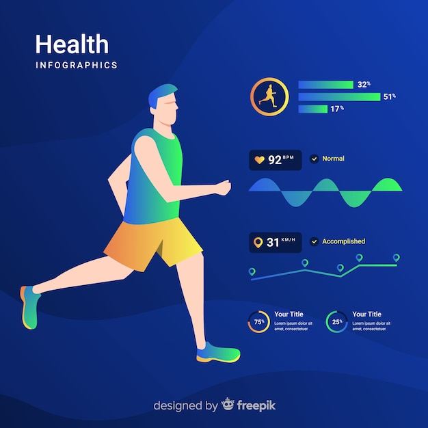 Health infographic template flat design Free Vector