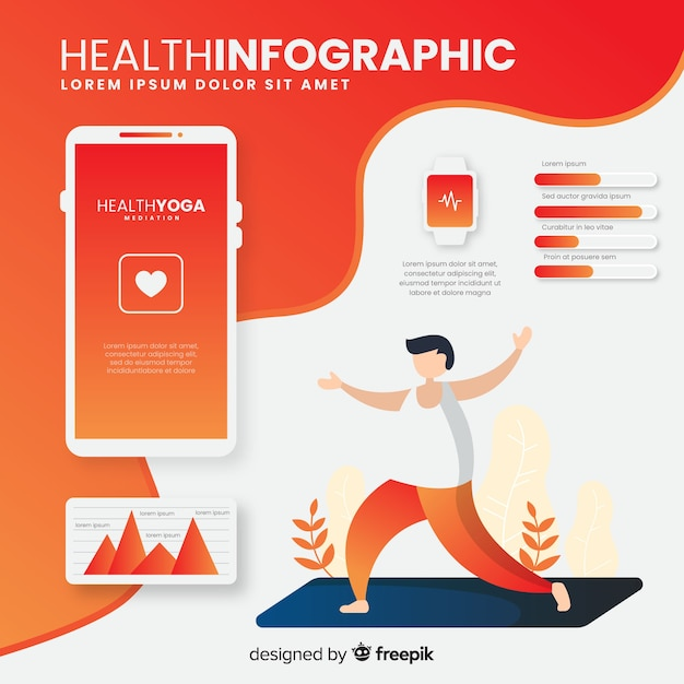 Health infographic template flat style Free Vector