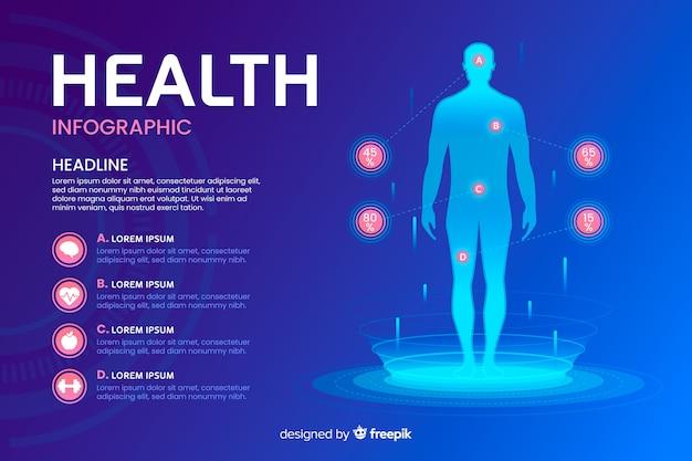 건강 infographic 템플릿 평면 스타일 무료 벡터