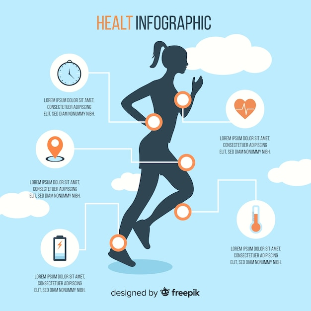 Health infographic template with a woman silhouette Free Vector
