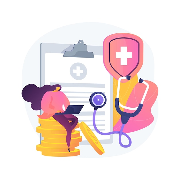 Health insurance abstract concept   illustration. health insurance contract, medical expenses, claim application form, agent consultation, sign document, emergency coverage Free Vector