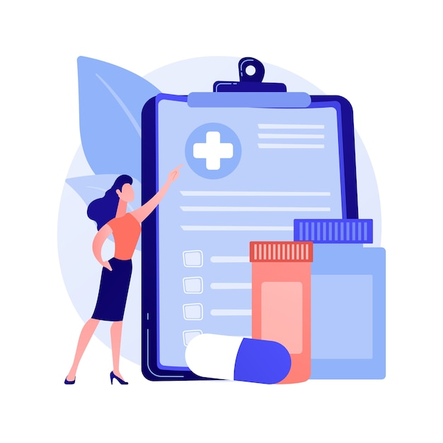 Health insurance abstract concept vector illustration. health insurance contract, medical expenses, claim application form, agent consultation, sign document, emergency coverage abstract metaphor. Free Vector