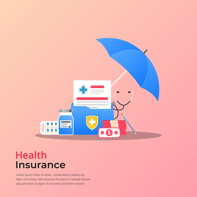 Health insurance concept. medical research report or contract vector with drugs and money symbol, flat medical record paper illustration. Premium Vector