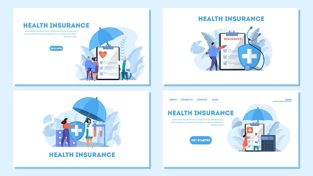 Комплект веб-баннера концепции медицинского страхования. люди, стоящие у большого буфера обмена с документом. здравоохранение и медицинское обслуживание. иллюстрация Premium векторы