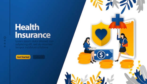 Health insurance mobile apps with protective umbrellas and shields Premium Vector