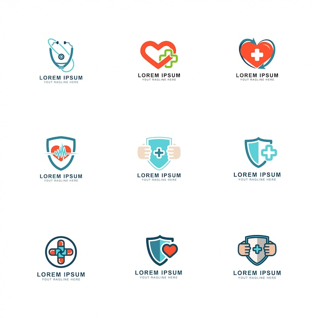 Health logo set Premium Vector