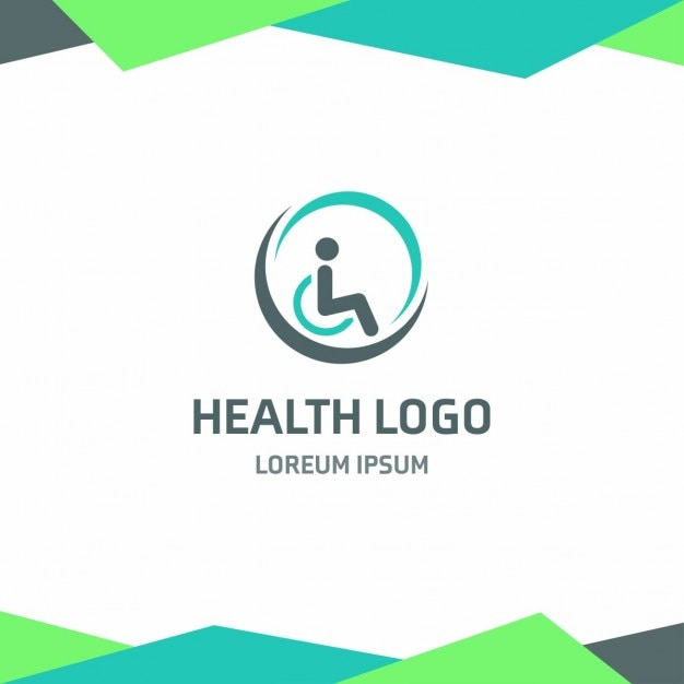 Health logo with a person in a wheelchair Free Vector