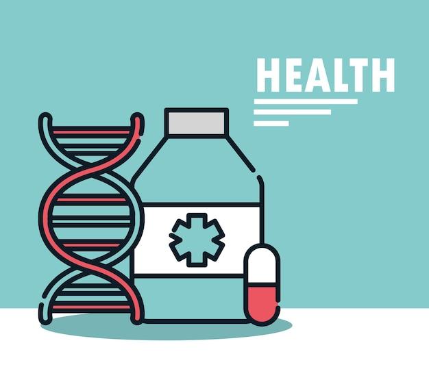 Капсула медицинской бутылки для здоровья и иллюстрация молекулы днк, линия и заполнение Premium векторы