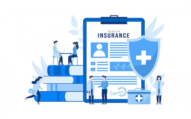 Health medical insurance illustration concept isolated, people patients, doctors. Premium Vector