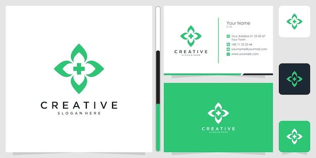 健康医療ロゴデザインシンボルアイコンテンプレート名刺プレミアム Premiumベクター