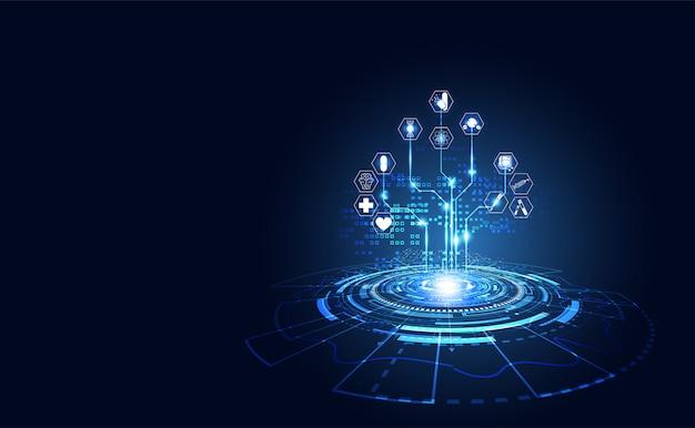 Health medical science healthcare digital technology science Premium Vector