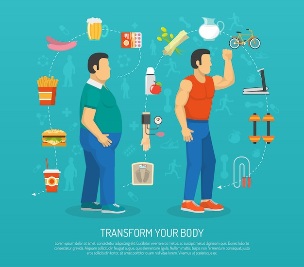 Health and obesity illustration Free Vector