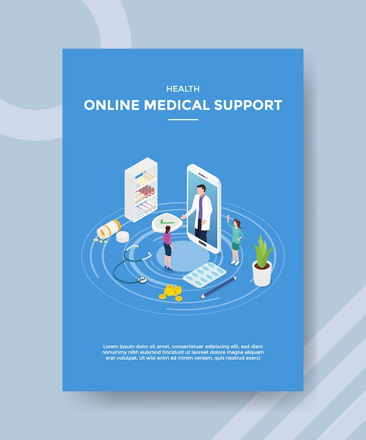 Health online medical support flyer template Free Vector