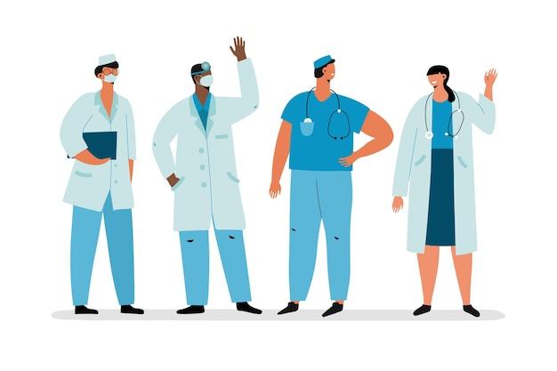Медицинская команда в медицинских халатах Бесплатные векторы