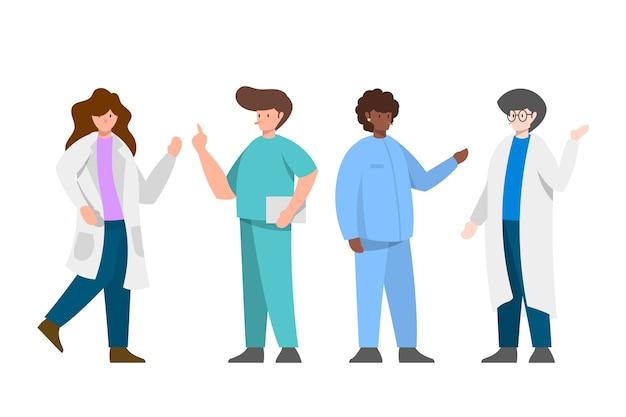 Agitando il team di professionisti della salute Vettore gratuito