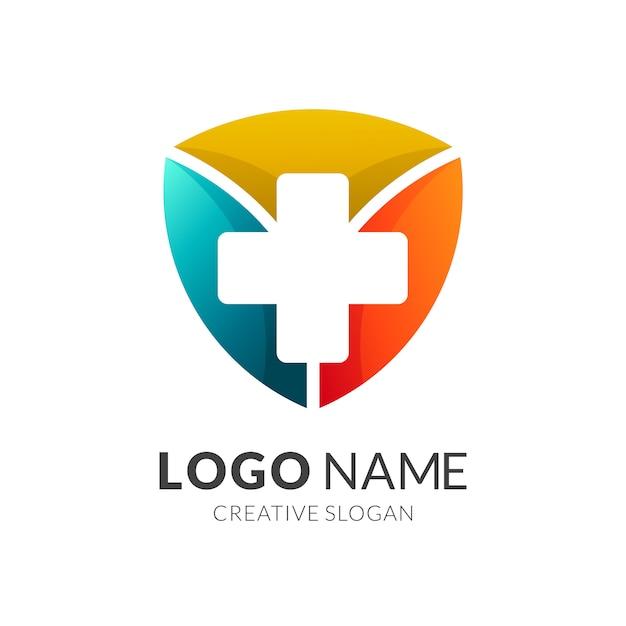 Health protection logo, shield + medical icon Premium Vector