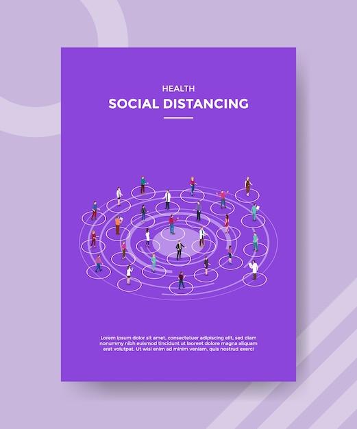 Salute sociale distanziamento persone carattere diverso in piedi sulla forma del cerchio mantenere la distanza per il volantino modello Vettore gratuito