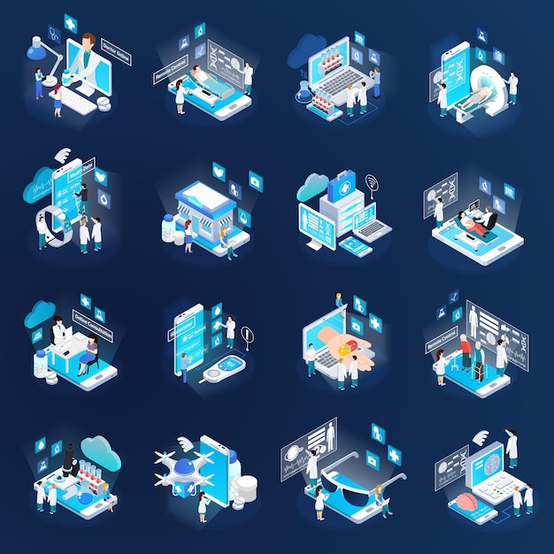 Health telemedicine glow isometric icons collection with mobile electronic devices remote tests virtual doctor isolated Free Vector