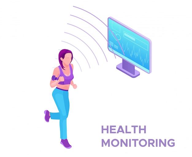 Трекер здоровья на бегущей женщине Premium векторы