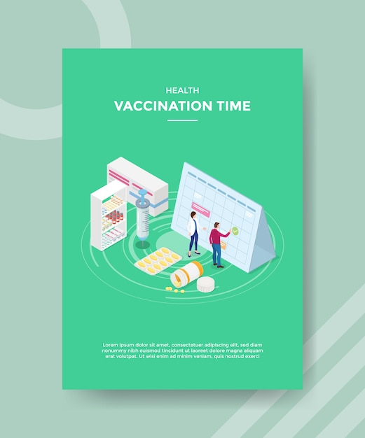 Modello di volantino del tempo di vaccinazione sanitaria Vettore gratuito