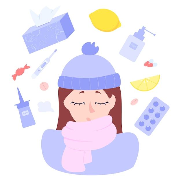 ヘルスケアと医療の概念。薬局の薬に囲まれた病気の女性のキャラクター。病気の治療のための薬。季節ごとの煙道治療。図 Premiumベクター